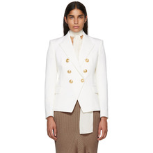 BALMAIN | Balmain White Wool Six-Button Blazer | Clouty