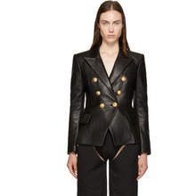 BALMAIN | Balmain Black Six-Button Leather Blazer | Clouty