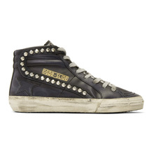 Golden Goose Deluxe Brand | Golden Goose Black Leather Studded Slide Sneakers | Clouty