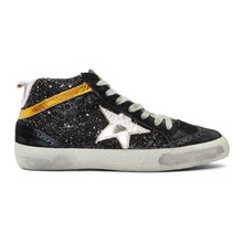 Golden Goose Deluxe Brand | Golden Goose Black Glitter Mid Star Sneakers | Clouty