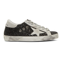 Golden Goose Deluxe Brand | Golden Goose SSENSE Exclusive Black Glitter Superstar Sneakers | Clouty