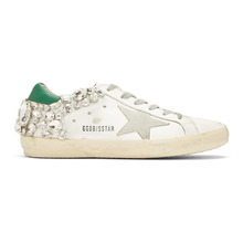 Golden Goose Deluxe Brand | Golden Goose White and Green Diamond Superstar Sneakers | Clouty