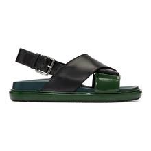 Marni | Marni Black and Green Fussbett Sandals | Clouty