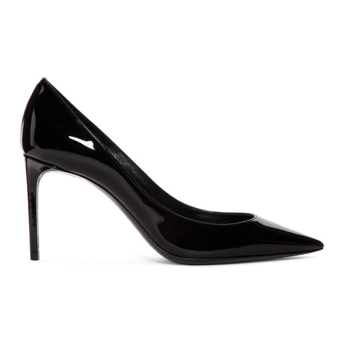SAINT LAURENT   Saint Laurent Black Patent Zoe Heels   Clouty