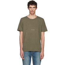 SAINT LAURENT   Saint Laurent Khaki Rive Gauche Logo T-Shirt   Clouty