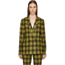 6397 | 6397 Yellow Plaid Double-Breasted Blazer | Clouty