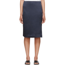 6397 | 6397 Navy Silk Side Slit Skirt | Clouty