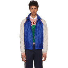 GUCCI | Gucci Blue and Beige Jacquard GG Jacket | Clouty