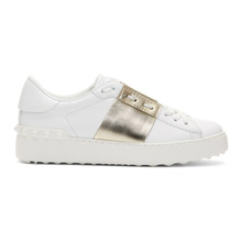 VALENTINO | Valentino White and Gold Valentino Garavani Open Sneakers | Clouty