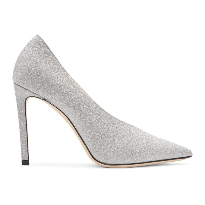 Jimmy Choo | Jimmy Choo Silver Glitter Sophia 100 Heels | Clouty