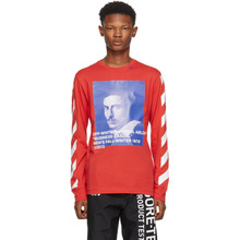 Off-White | Off-White Red Diagonal Bernini Long Sleeve T-Shirt | Clouty