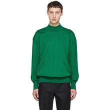 ISSEY MIYAKE | Issey Miyake Men Green Wrinkle Knit Turtleneck Sweater | Clouty