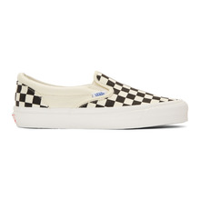 VANS | Vans Off-White and Black Check OG Classic Slip-On Sneakers | Clouty