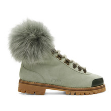 Mr & Mrs Italy | Mr and Mrs Italy Green Suede Shearling Boots | Clouty