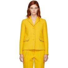 Bottega Veneta | Bottega Veneta Yellow Embroidered Chain-Link Blazer | Clouty