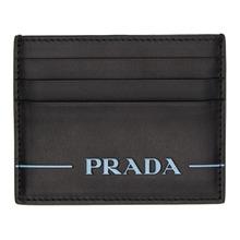 PRADA | Prada Black Nappa Logo Card Holder | Clouty