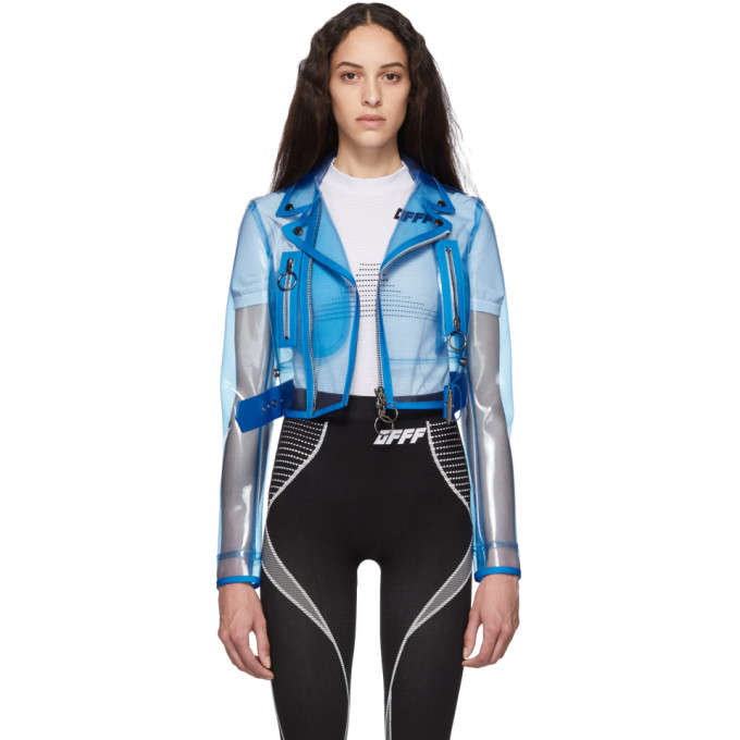 Off-White | Off-White Blue PVC Cropped Biker Jacket | Clouty