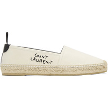 SAINT LAURENT | Saint Laurent Off-White Canvas Logo Espadrilles | Clouty