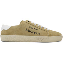SAINT LAURENT | Saint Laurent Beige Embroidered Court Classic Sneakers | Clouty