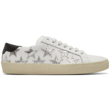 SAINT LAURENT | Saint Laurent White and Silver Court Classic California Sneakers | Clouty