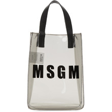 MSGM | MSGM Grey Mini Vinyl Plastic Shopper Tote | Clouty