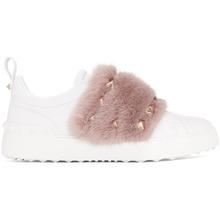 VALENTINO   Valentino White and Pink Valentino Garavani Mink Open Sneakers   Clouty