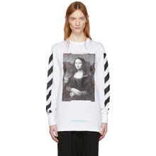 Off-White | Off-White White and Black Diagonal Monalisa T-shirt | Clouty