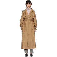 Bottega Veneta | Bottega Veneta Tan Silk Satin Trench Coat | Clouty