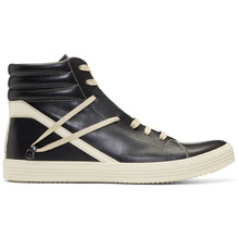 RICK OWENS | Rick Owens Black and Off-White Geothrasher High Sneakers | Clouty