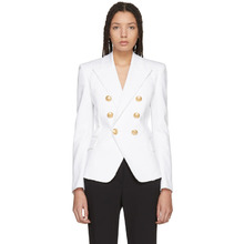 BALMAIN | Balmain White Denim Six-Button Blazer | Clouty