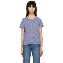 A.P.C. | A.P.C. Blue and White Striped Oma T-Shirt | Clouty