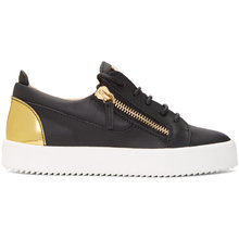Giuseppe Zanotti | Giuseppe Zanotti Black and Gold May London Sneakers | Clouty