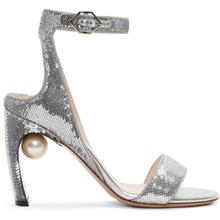 Nicholas Kirkwood | Nicholas Kirkwood Silver Sequin Lola Pearl Sandals | Clouty