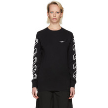Off-White | Off-White Black and White Long Sleeve Diagonal Marker Arrows T-Shirt | Clouty