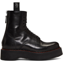R13 | R13 Black Stack Platform Lace-Up Boots | Clouty