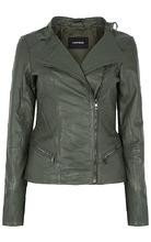 La Reine Blanche   Кожаная куртка с воротником-стойкой   Clouty