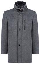 Al Franco | Мужское полушерстяное пальто с отделкой мехом кролика | Clouty