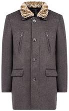 Al Franco | Утепленное полушерстяное пальто с отделкой искусственным мехом | Clouty