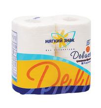 Мягкий Знак | Туалетная бумага Мягкий Знак Deluxe Белая двухслойная, 4 шт | Clouty